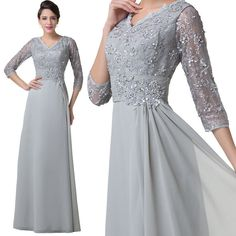Grey VINTAGE Bride Mother LACE Dresses Long Formal Evening Bridesmaid Prom Gown #Unbranded #BallGown #Formal