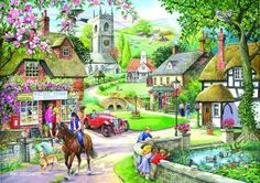 "The House of Puzzles ""Feeding The Ducks"" 1000 Piece Jigsaw Puzzle Nostalgic Art, Cottage Art, Puzzle Art, Fantasy Setting, Cartoon Art Styles, Naive Art, Art And Illustration, Illustrations, Beautiful Paintings"