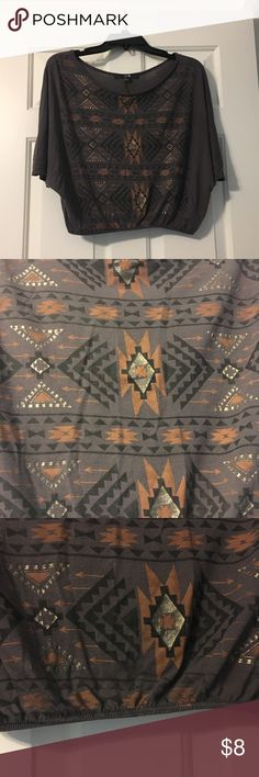Printed top -Aztec print  -cinched bottom  -gently used Tops