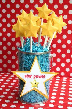 Super Mario Birthday Party Ideas | super+mario+party+ideas+dessert+table+candy+bar+star+power Mario Bros ...