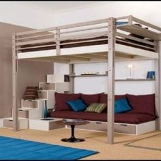 Bunk Bed Designs For Small Rooms: Decorating Contemporary Bedroom Interior Designs In Small Spaces,Interior Cool Loft Beds, Loft Bed Frame, Bunk Beds With Stairs, Lofted Beds, Bed Frames, Loft Bed With Couch, Loft Bed Desk, Loft Bed Stairs, Daybed Couch