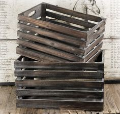 Wood Crate Set of Two.  This is a terrific site for rustic/vintage decorating items.  Love it!