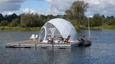 Build a floating platform, put a dome on it and call it home. http://tinyhouseswoon.com/floating-dome-home