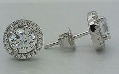 Women-Ladies-Real-925-Silver-Cubic-Push-HALO-Stud-Earring-14K-White-Gold-Finish