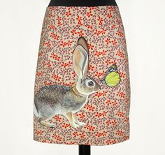 Cottontail Rabbit Meets Butterfly skirt - handpainted by NYhop - one of a kind, upcycled knee length spring floral A line - size XL (USA 16). $175.00, via Etsy.