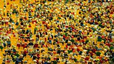 レゴ, 人形, あたり, 円形闘技場, 人々。, 両方, キャリアの広い範囲。, 群衆。, ピープル, 応援