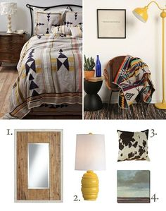 Black and Yellow Southwestern Decor Essentials Modern Southwest Decor, Southwestern Bedroom, Southwestern Decorating, Southwest Style, Home Building Design, Apartment Living, Living Room, Bedroom Styles, Black Decor
