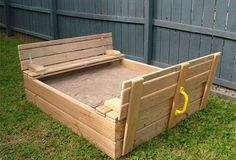 Kidz Playtime - Super sandpit with seating & lid for sale on Trade Me, New Zealand's auction and classifieds website Outdoor Play Spaces, Outdoor Toys, Outdoor Fun, Outdoor Decor, Outdoor Games, Sand Projects, Outdoor Projects, Kids Sandbox, Gate Handles