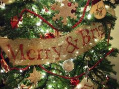 stenciled, burlap garland Country Christmas, Diy Christmas, Vintage Christmas, Christmas Bulbs, Xmas, Burlap Garland, Burlap Door Hangers, Craft Projects, Craft Ideas