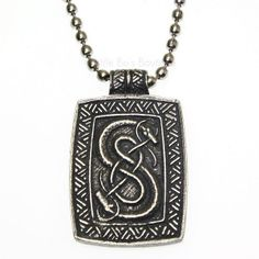 New Pewter Loki of Urnes Viking Snakes Carving Pendant Necklace