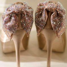 Indian wedding satin shoes with crystal embellished bows - Angelesque Stilettos via IndianWeddingSite.com