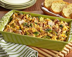 Easy Cheesy Pasta, Broccoli & Chicken Bake -  Arrange prepared Birds Eye® Steamfresh® Chef's Favorites Pasta & Broccoli with Cheese Sauce and Tyson® Grilled & Ready® Fully Cooked Oven Roasted Diced Chicken Breast in shallow baking dish. Sprinkle with bread crumbs and broil 1 minute.