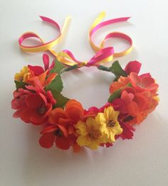 The Mimosas Pink Orange Yellow Mixed Flower Crown by FlowerHungry