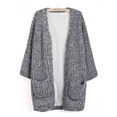 Grey Long Sleeve Pockets Knit Cardigan (305 ZAR) ❤ liked on Polyvore featuring tops, cardigans, outerwear, jackets, sweaters, gray top, long sleeve knit cardigan, grey cardigan, grey knit cardigan and grey top