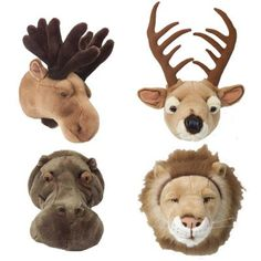 Plush baby wall mounts for a Hunting Theme nursery.  Jacob would have them on every wall!!