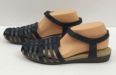 14609ed2487 Clarks sandals womens 11 shoes Mary Jane Blue Leather Fisherman Ankle Strap  New