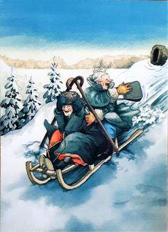 Brings back memories. Old Lady Humor, Quilt Labels, Winter Wonder, Whimsical Art, Helsinki, Friends Forever, Old Women, Vintage Art, Art Drawings
