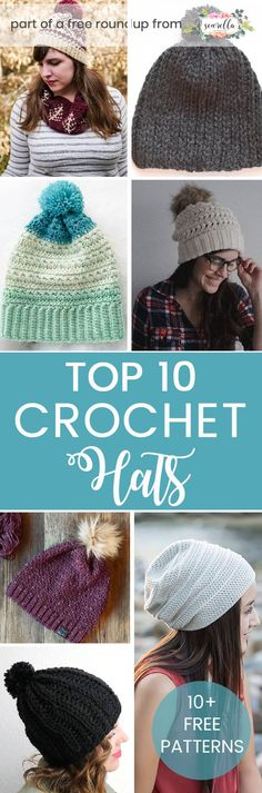 Crochet these easy cute winter hats with ease from some of my favorite bloggers! They've got poms and unique stitches to make them all a little different. Find all the free patterns on my 10 best winter hats roundup!