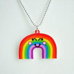 Cute Rainbow Acrylic Laser Cut Necklace  Kawaii by HoobynooWorld, £10.00