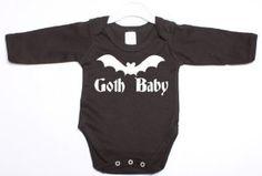 Amazon.com: Goth Baby Gothic Funny Long Sleeve Babygrow Suit Baby Shower Gift 6/12 Black Vest White Print-6/12 Black-White Print: Baby