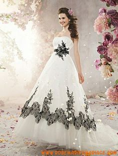 Robe de mariée princesse organza appliqué fleurs