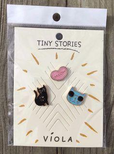 Cat Novelty Hat Pins Enamel Pin Set 3PC Cat Face Glasses Meow Heart Tiny Stories