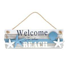 Nautical Decor CoTa Global Aqua Sky Welcome to the Beach Sign