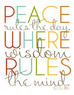 Peace Rules the Day...  #printable