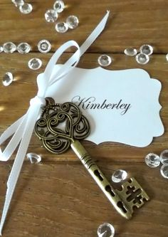 Vintage Wedding Escort Cards, Skeleton Key Place Cards, Romantic Name Cards x 10 BLANK TAGS