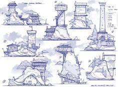 Tower styles by Feng Zhu Fantasy City, Fantasy Castle, Fantasy Map, Building Sketch, Building Concept, Environment Concept Art, Environment Design, Area Urbana, Concept Art Tutorial