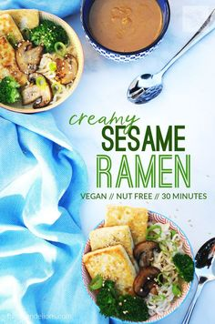 This easy vegan Creamy Sesame Ramen is packed with flavor and comes together in just 30 minutes!  (#vegan #nutfree #30minutemeal #weeknightdinner)