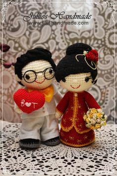 Amigurumi Chinese bride and groom. Wedding costume dolls. (Inspiration).