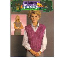fb19b5bcd7e723 Knitting Pattern - Patons 7329 - Teens Lady s Chunky Knit Slipovers 30-40