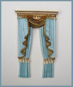 contrast silk curtains ~ gilded wooden pelmet Silk Brocade / jacquard Swags and Tails Miniature Rooms, Miniature Crafts, Miniature Furniture, Dollhouse Furniture, Doll House Crafts, My Doll House, Doll Houses, Victorian Dollhouse, Dollhouse Door