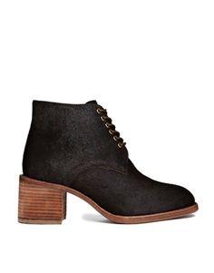 F-Troupe Chololate Leather Lace Up Heeled Boots
