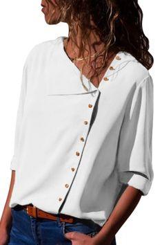 White Turndown Collar Asymmetric Button Down Blouse Wholesale – kaliyy Cheap Blouses, Blouses For Women, Tops Online Shopping, Stylish Jeans, Plus Size Blouses, Lady, Street Style Women, Long Sleeve Shirts, Parka
