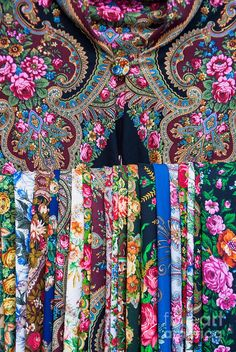 Collection of Russian roses pattern scarves