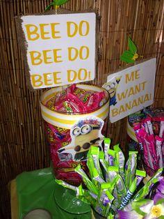 Minion luau candy table Luau Birthday, Minion Birthday, Birthday Parties, Birthday Ideas, Minion Candy, Minions, Candy Table, Luau Party, First Birthdays