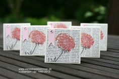 Field-Flowers-Stampin-Up-Danke-Karten Flowers stamped on printed word background. Try this on a book page!
