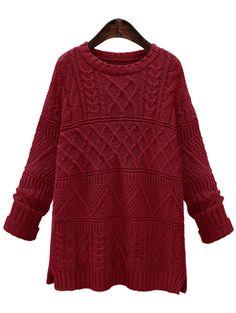 Jersey tejido slit-(Sheinside)