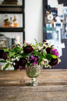 Tulips, hellebores, and ranunculus / Studio Tour: Fourteen-Forty / 100 Layer Cake