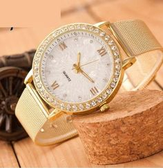 Women Crystal dress Quartz Watch waterproof Gold Mesh Band Wrist Watch