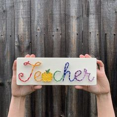 Need a cute sign for your rainbow-loving heart? How about a special gift for your favorite teacher? Teacher Name Signs, Classroom Decor, Online Classroom, Classroom Teacher, Special Ed Teacher, Wood Stain Colors, Rainbow Decorations, Cute Signs, Teacher Favorite Things