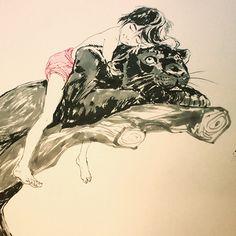 Bagheera & Man Cab, Jungle Book fan art, perfect gift for a good friend :)