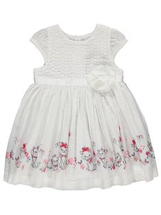 Disney Aristocats Marie White Embroidered Dress | Baby | George