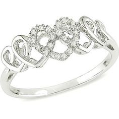 10kt White Gold Heart Ring with Diamond Accents