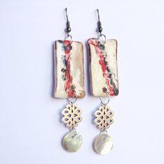 boucle d oreille noeud chinois céramique métal nacre style asiatique