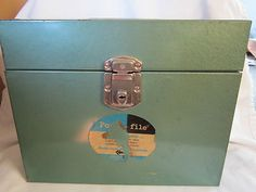 """I bought my 20 year old one like this at the Idaho Youth Ranch """"Pay by weight"""" (cost: pennies).  Ebay: Vintage File Folder Metal Box Retro - Mad Men Style Shabby Hammered Green   eBay $8.50"""