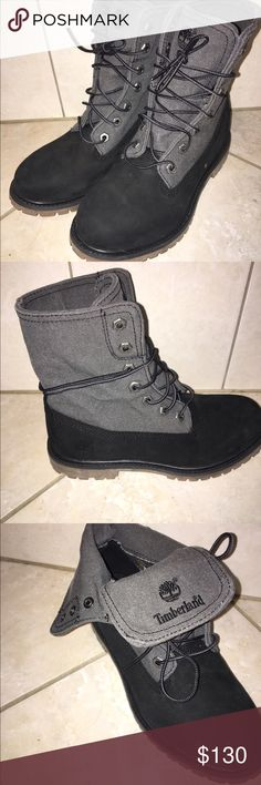 Timberland shoes Super cute black and grey timberlands. Never worn, nothing wrong just to big for me! You can wear these three different ways. Make offers! Timberland Shoes Winter & Rain Boots