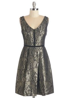 Reminiscent of Royalty Dress - Gold, Print, Special Occasion, Party, Holiday Party, Fit & Flare, Sleeveless, V Neck, Mid-length, Woven, Pleats, Black